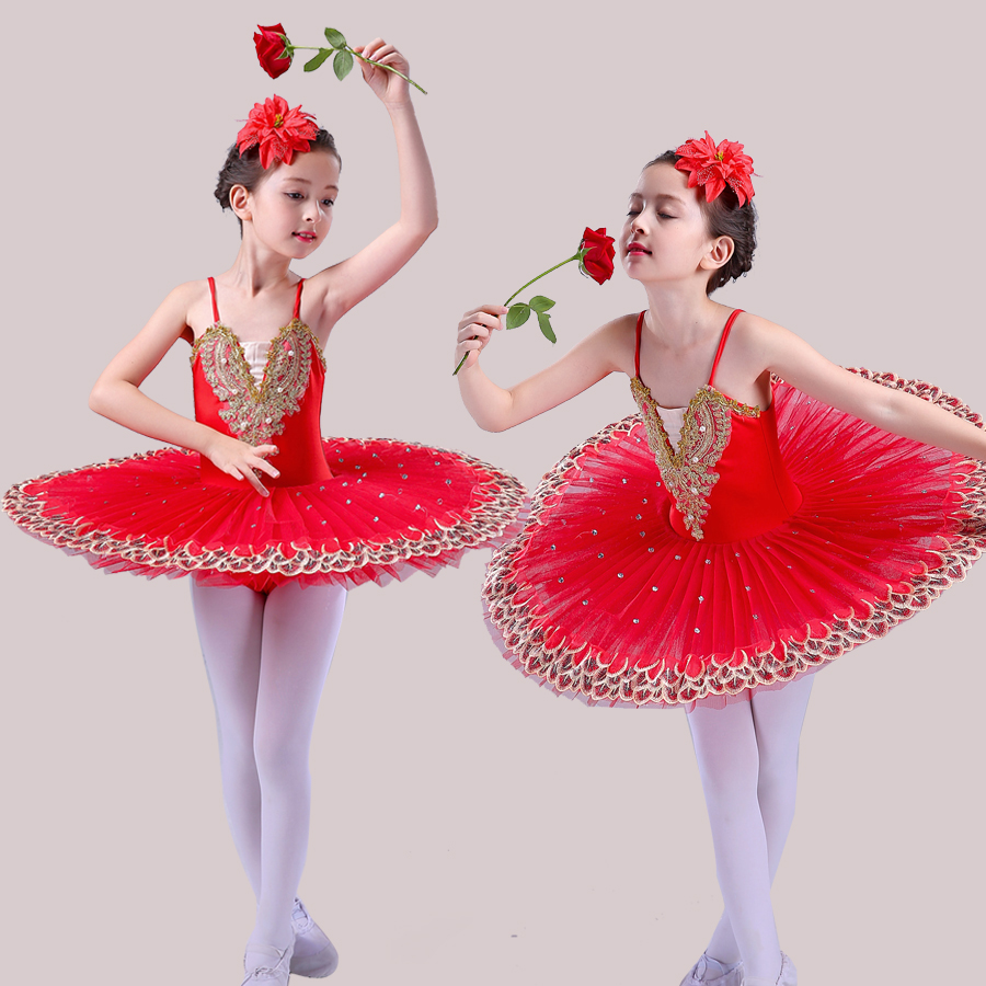 Professional Ballet Tutu Child Swan Lake Costume White Red Blue Ballet Dress for Children Pancake Tutu