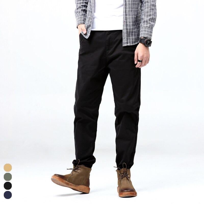 Plus Size 44 46 48 Men's Casual Cargo Pants Solid Color Fashion CottonJoggers Harem Trousers Men's Clothes Black Navy
