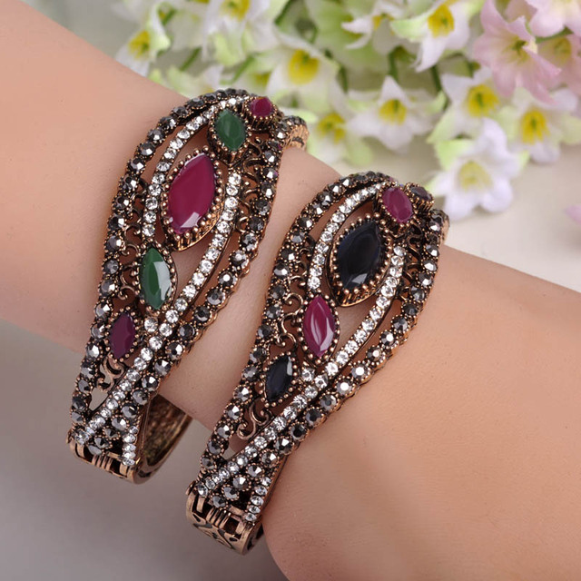 Vintage Antique Gold Plated Big Bangles Full Crystals Red Acrylic Bracelets For Women Brand Turkish Jewelry Pulseiras Feminina
