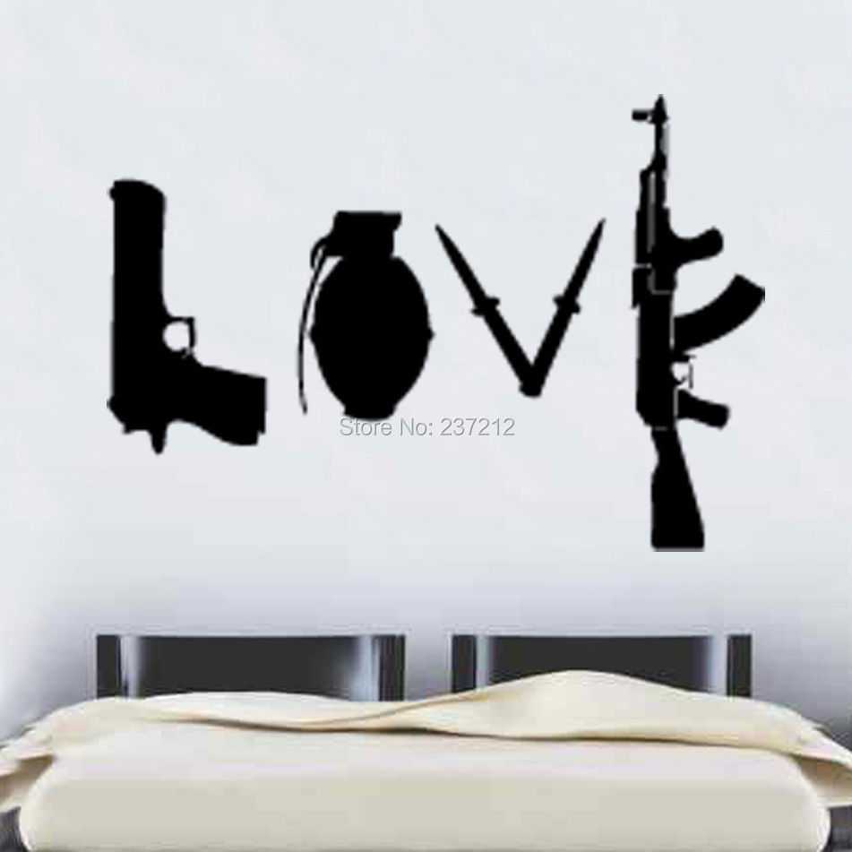 Free Shipping Banksy Love Weapons Wall Sticker 60cm X 86cm Art Wall Sticker
