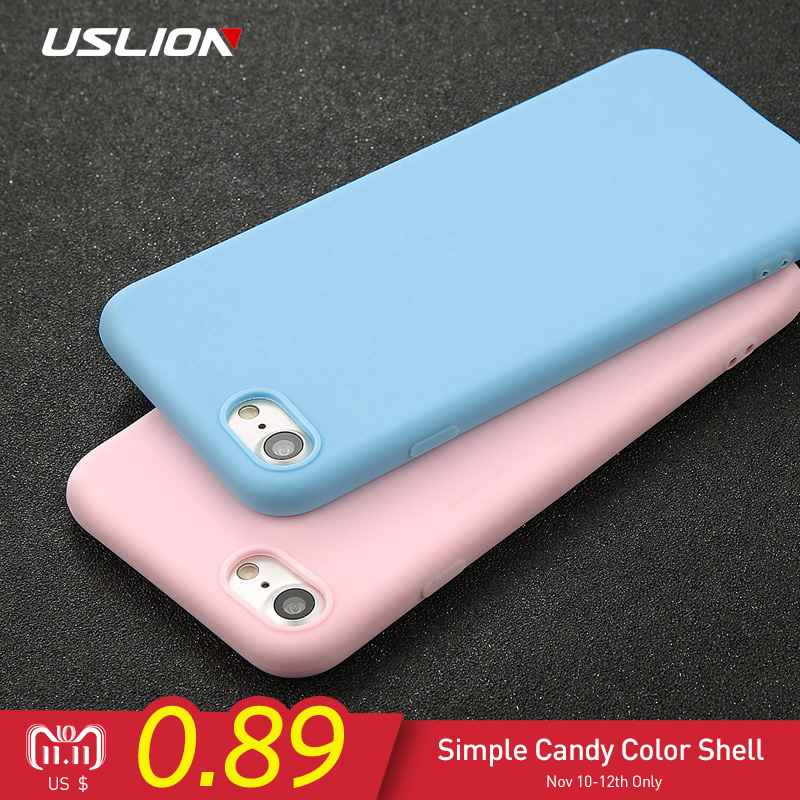 USLION Phone Case For iPhone 7 6 6s 8 X Plus 5 5s SE XR XS Simple Solid Color Ultrathin Soft TPU Cases Candy Color Back Cover стоимость
