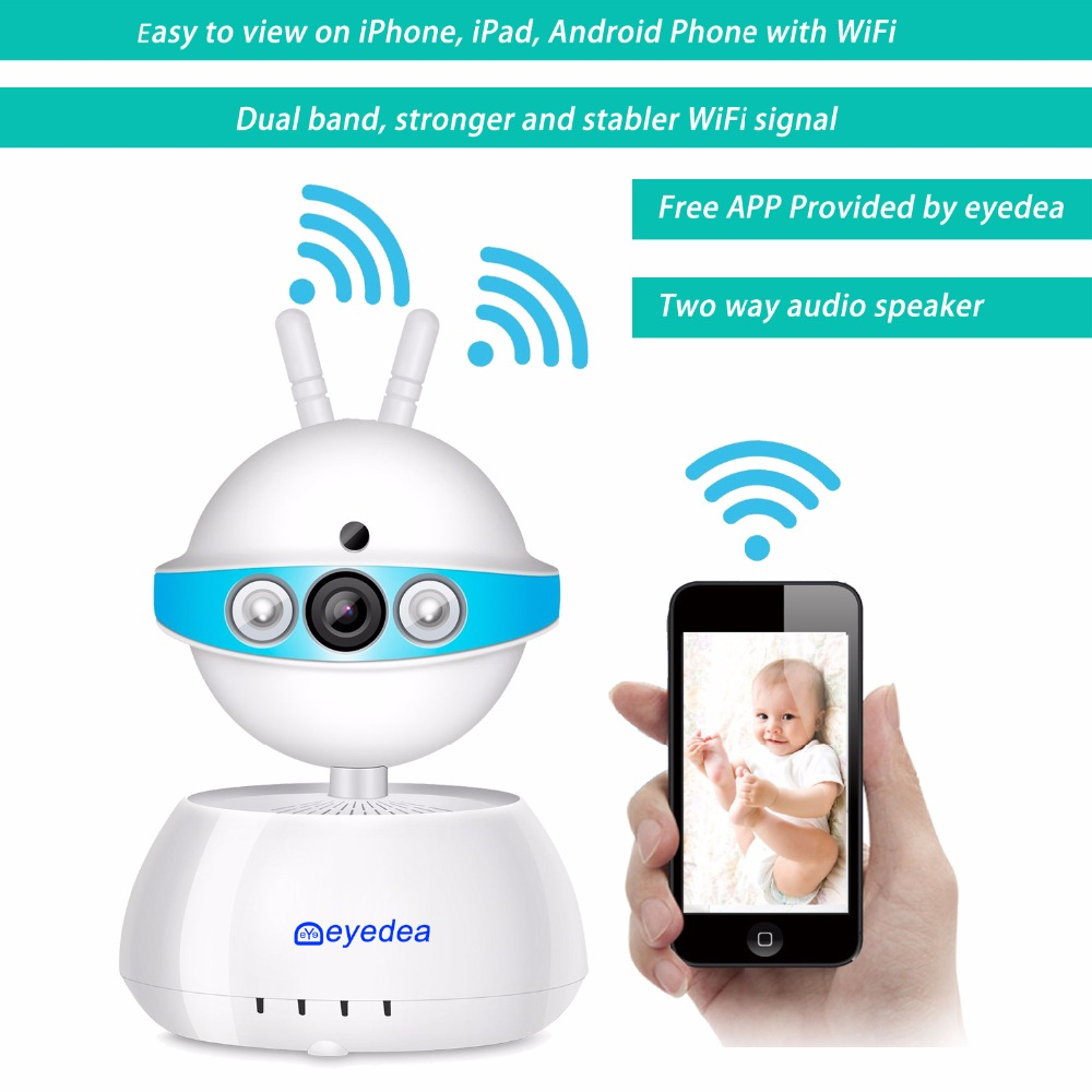 Eyedea 720P 1.0MP WiFi Wireless Network Phone View Baby Monitor Two Way Audio Pan Tilt Video Surveillance CCTV Security Camera howell wireless security hd 960p wifi ip camera p2p pan tilt motion detection video baby monitor 2 way audio and ir night vision