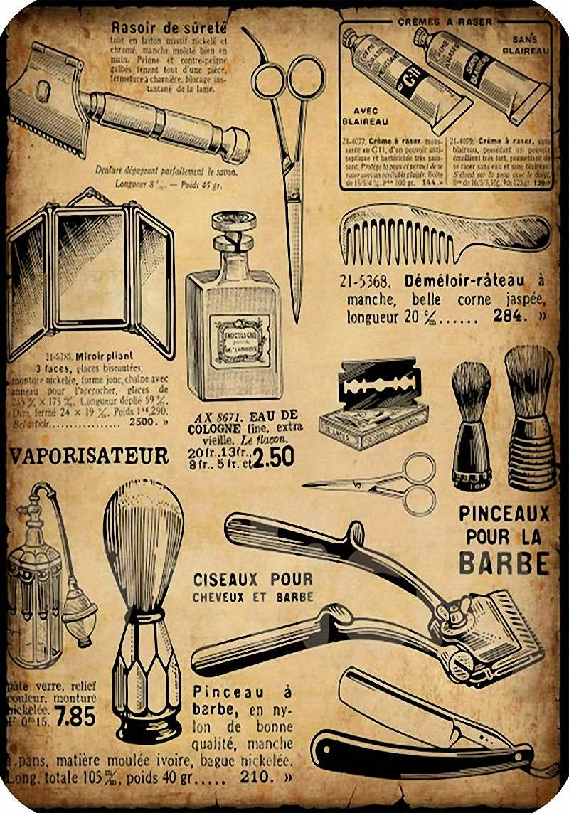 Vintage Parrucchiere Tatuaggi Patterned Manifesti di carta Kraft Pittura D'interni Ripristino Wall Sticker Barber Shop Decorazione b