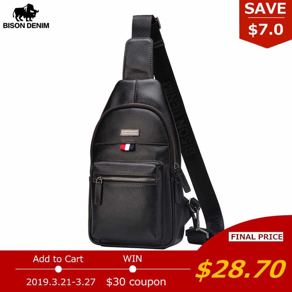 b3ea39b9e1ee BISON DENIM натуральная кожа сумка через плечо непромокаемая мужская сумка  маленький одиночный плечевой ремень нагрудная Сумка