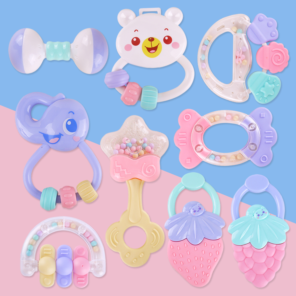 Cute Baby Toys Newborn Teether Hand Bells Baby Toys 0-12 Months Teething Development Infant Early Educational Baby Rattles Toys baby rattles toys 8pcs teether music hand shake bed bell newborns plastic animal rattles gift educational baby toys 0 12 months