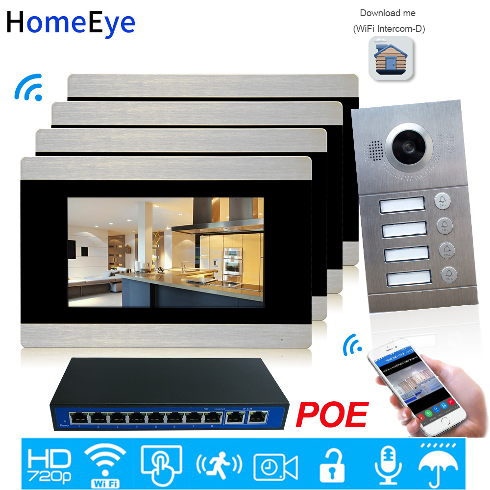 720P 7'' WiFi IP Video Intercom Smart Video Door Phone IOS/Android APP Remote Unlock 4-Apartments Door Access Control System POE
