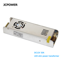 JCPOWER Slim 12V 30A 360w Voltage Transformer Switch Power Supply For Led Strip Or Control Switch