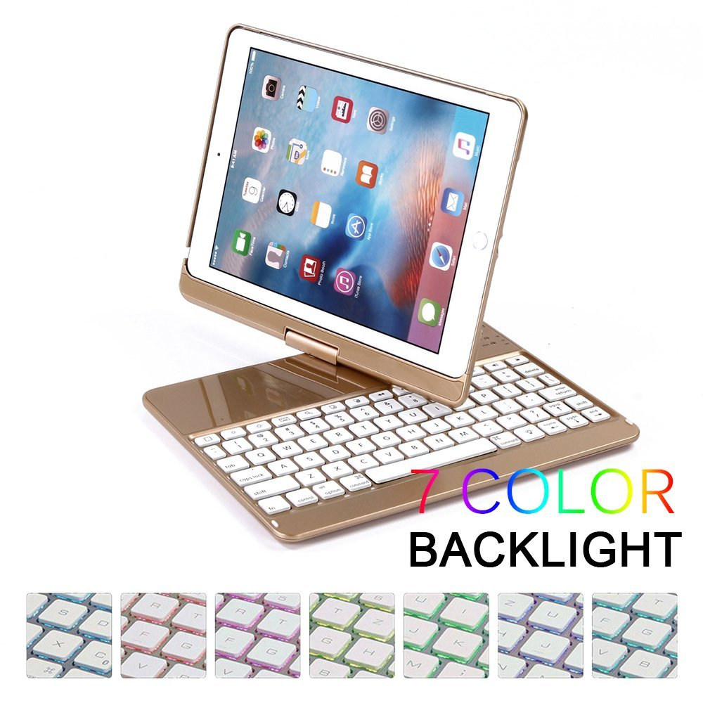 Wireless Bluetooth Keyboard Case Cover for iPad 9.7 New 2017 A1822 ABS Plastic 7 Colors Backlit Light Keyboard for iPad pro 9.7 for ipad mini 4 backlit wireless 4 0 bluetooth keyboard 7 colors backlight ultra slim aluminum abs material a1538 a1550