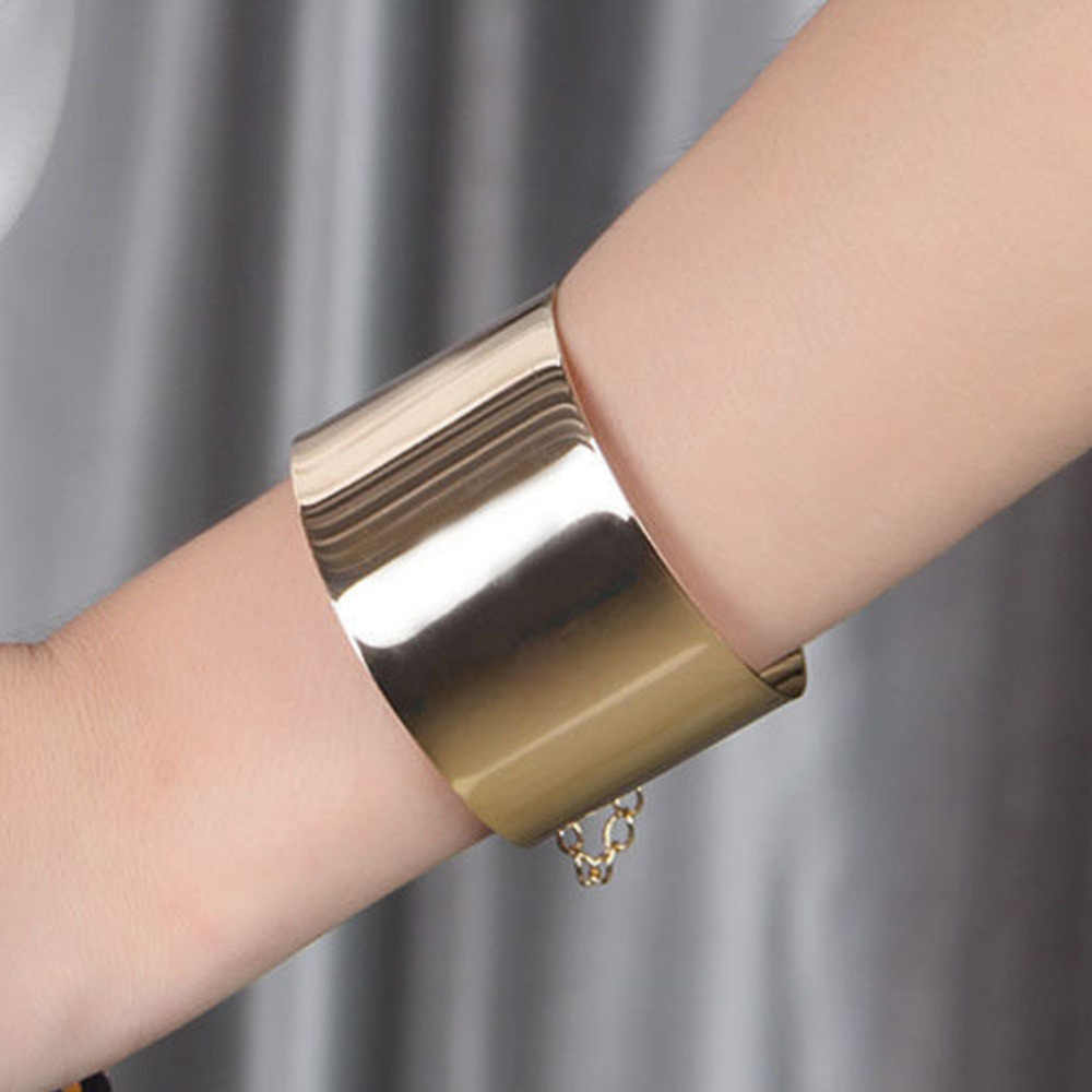 Fashion Jewelry Exaggerated Wide Face Punk Wide Flat Silver Bracelet Women Mirror Cuff Retro Big Gold Bangles BL-0402