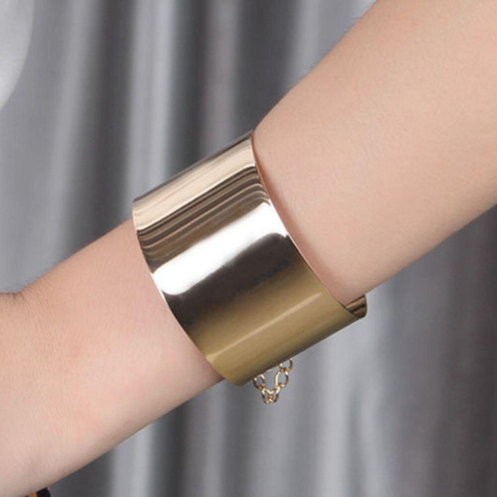Fashion Jewelry Exaggerated Wide Face Punk Wide Flat Silver Bracelet Women Mirror Cuff Retro Big Gold Bangles BL-0402