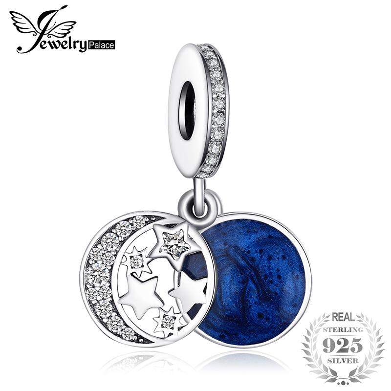 JewelryPalace Genuine 925 Sterling Silver Secret Blue Love Charms Beads Fit Bracelet Bangle Moon Star Dangle Pendant Anniversary цена