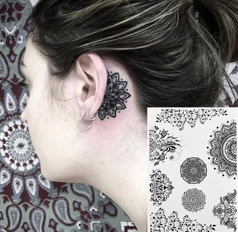 Us 149 Bh 6 Mini Mandala Bloem Tattoo Achter Het Oor De Populaire Zwarte Henna Tattoos Tijdelijke Geïnspireerd Body Tattoos Stickers In