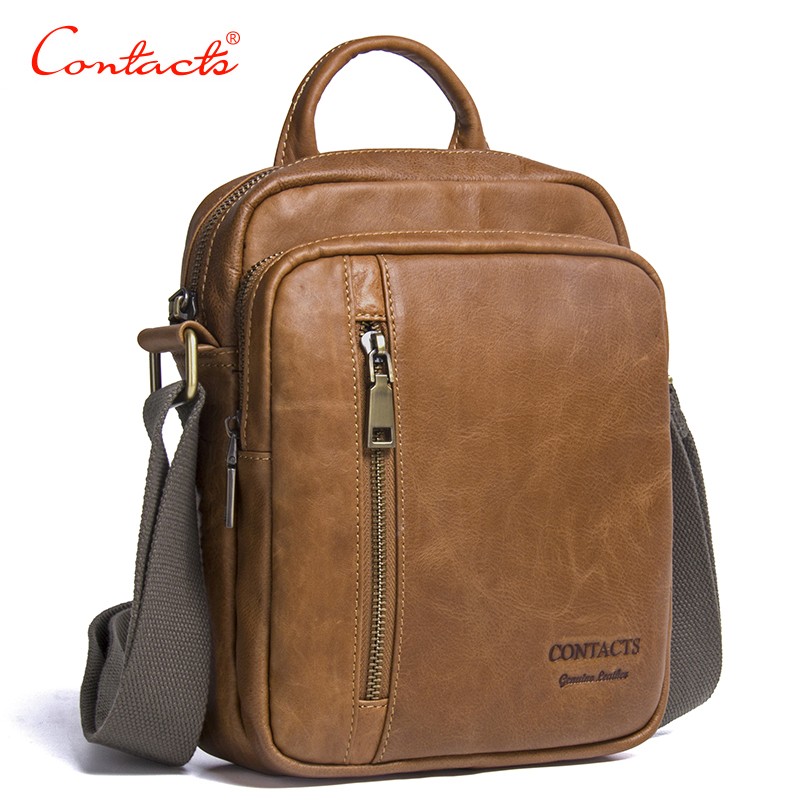 CONTACT'S New Collection 2017 Fashion Men Bags Genuine Leather Messenger Bag High Quality Man Brand Business Bag Men's Handbag