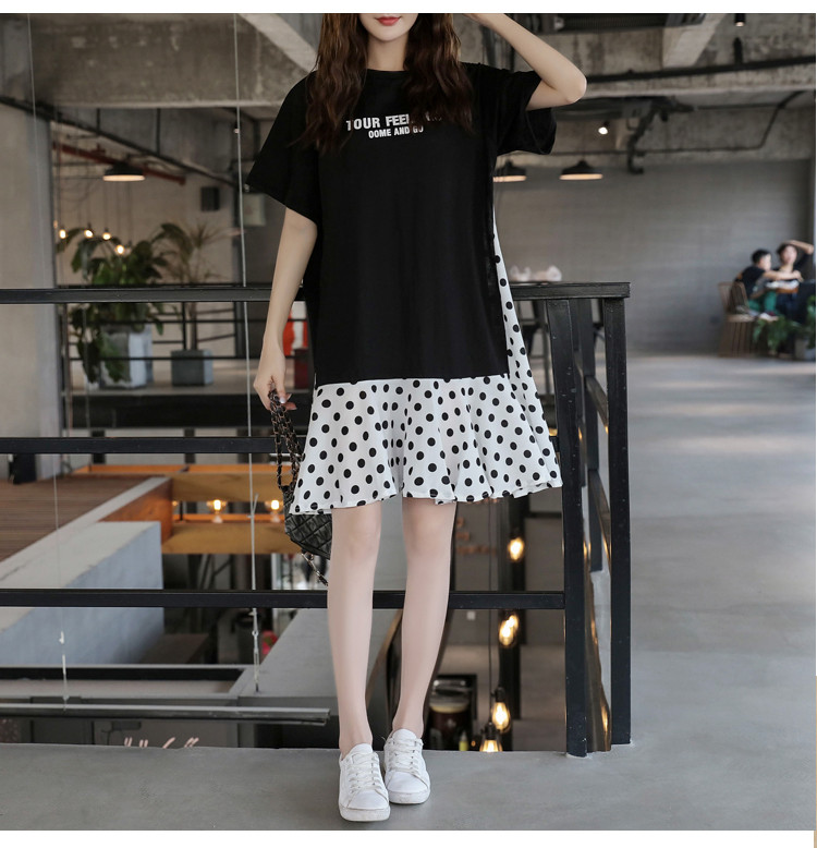 XL-5XL Plus Size Women Casual Dress Summer 2019 Short Sleeve Cotton Patchwork Chiffon Loose Casual Polka Dot Dresses 9