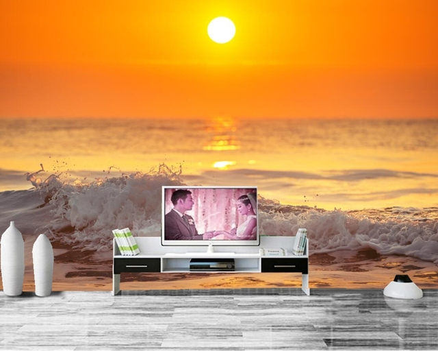 papel de parede Sky Sea Waves Horizon Nature photo wallpaper ,living room tv sofa wall kitchen bedroom restaurant bar 3d mural