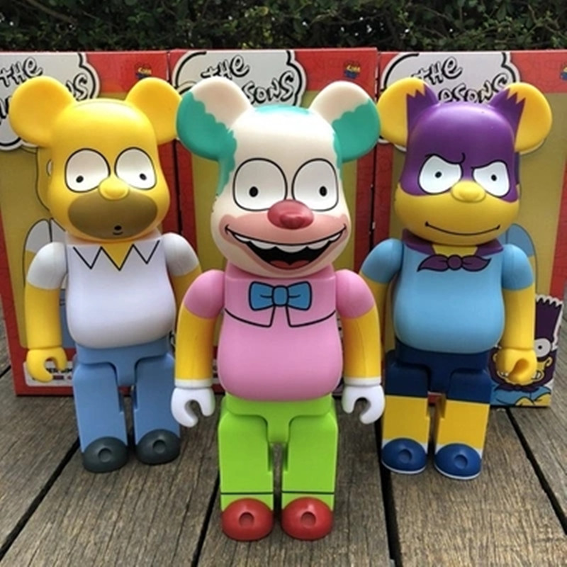 400% Bear@Brick Batman Krusty The Clown The Simpsons Gloomy Bear Bearbrick Kaws PVC Action Figure Original Fake Model Toy L1778 high quality oversize 52cm bearbrick be rbrick matt diy pvc action figure toys bearbrick blocks vinyl doll 3 color optional