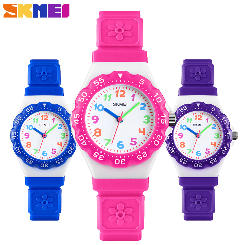 SKMEI Fashion Outdoor Sports Kids Watches Luxury Brand Waterproof PU Wristband Clock Quartz Children Wristwatche Montre Enfant