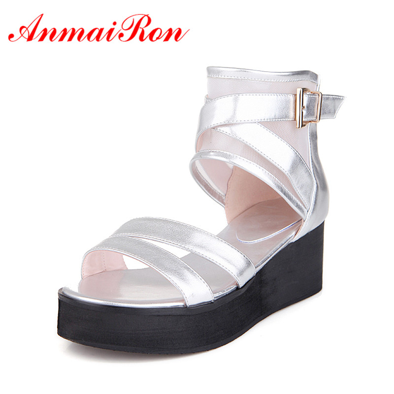 ANMAIRON Woman Sandals Platform Peep Toe Shoes Wedge Ankle-Wrap Zip Size36-39Ladies Casual Shoes Black White Silver Shoes Wedges phyanic 2017 gladiator sandals gold silver shoes woman summer platform wedges glitters creepers casual women shoes phy3323