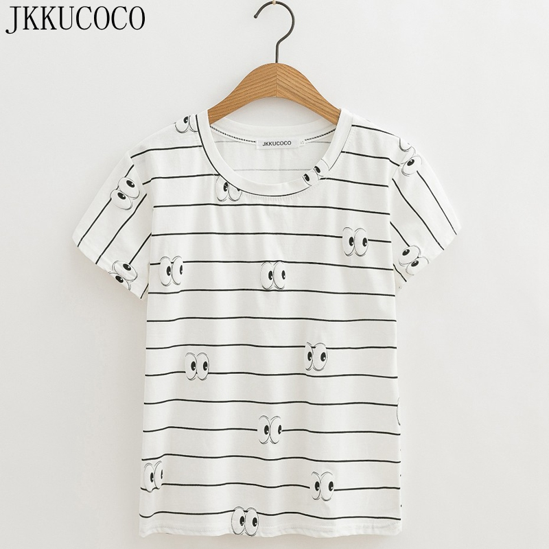 JKKUCOCO Black White Striped shirt Women Cotton T-shirt emoji Eyes Women Casual t shirt Summer tops Hot tees New Arrival XS-XL