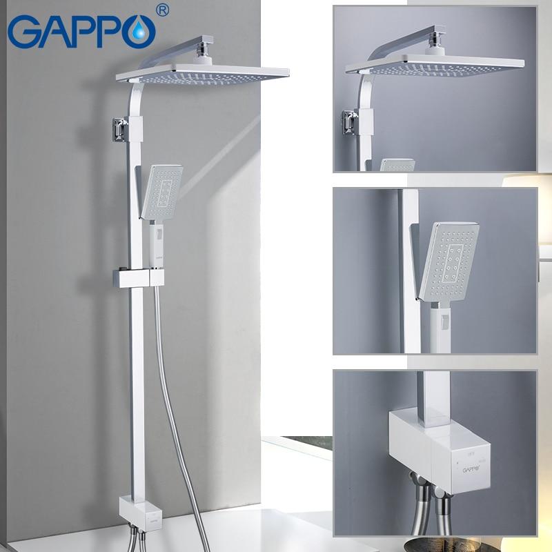 GAPPO Robinets de Douche cascade douche mitigeur salle de bains robinet de douche eau du robinet mur monté robinet précipitations Chrome Plaqué
