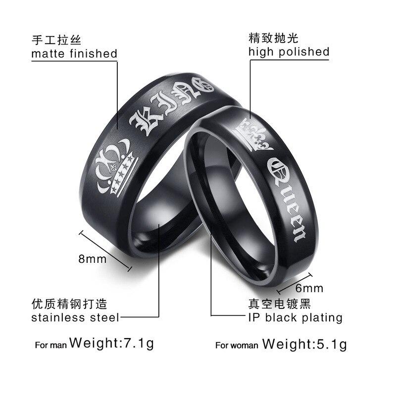 Beichong король и Queen Кольца из нержавейки Наборы для ухода за кожей его и ее пара влюбленных Обручальное Юбилей Обручение Promise Ring