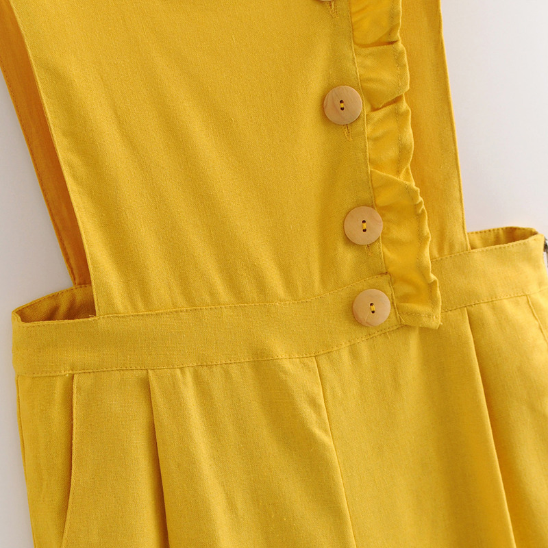 5a7bb93cba0 Anspretty Apparel casual wide leg jumpsuit women buttons strap linen lolita  romper ladies yellow summer backless overalls-in Jumpsuits from Women s  Clothing ...