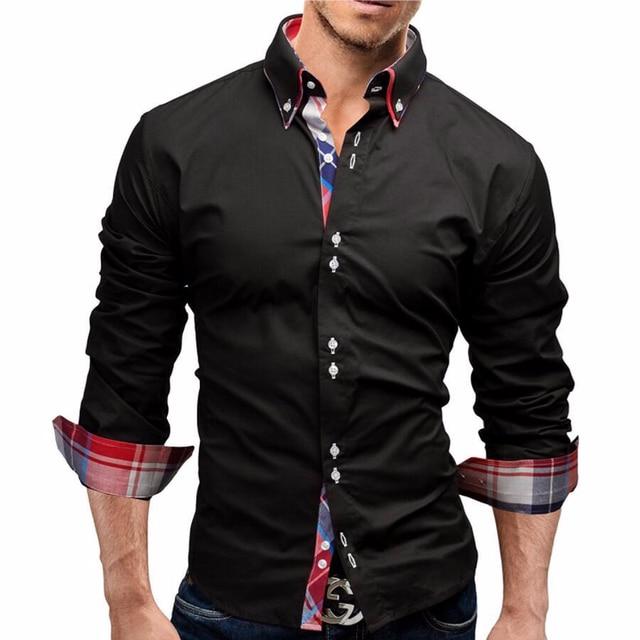 New Funny Black 2018 Men Shirt Spring Long Brand Solid Dress Shirts Casual Man Cool
