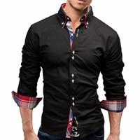 New Funny Black 2018 Men Shirt Spring Long Brand Solid Dress Shirts Casual Man Shirts Cool Slim Fit Male Cotton Tuxedo Shirt CS1