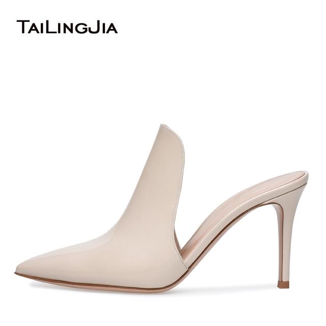 42e1939918c Elegant Pointed Toe High Heel Beige Mules Open Back Sandals Dress Shoes for  Women Slip on Summer Heels Mid Heel Large Size 2018