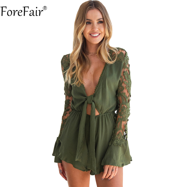 ForeFair Sexy V-neck Lace-Up Lace Playsuit Plus Size Ruffles Boot Cut Short adeb513c7bfe
