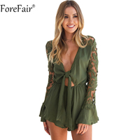 ForeFair Sexy V Neck Lace Up Lace Playsuit Plus Size Ruffles Boot Cut Short Sexy Jumpsuit