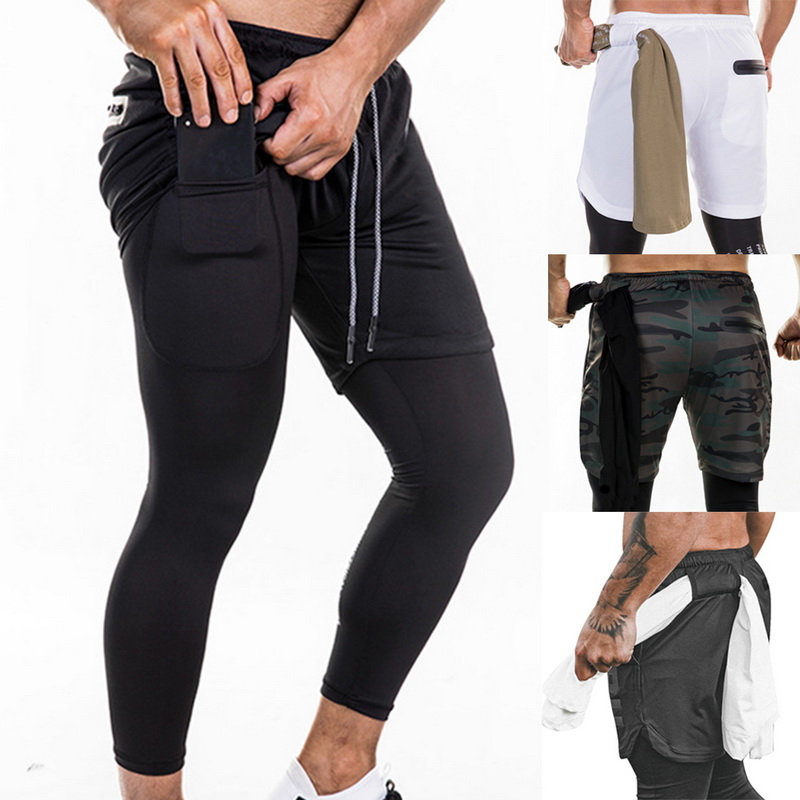 Joggers-Pants Built-In-Pockets Fitness Quick-Drying-Pants Summer New Phone High 2-In-1