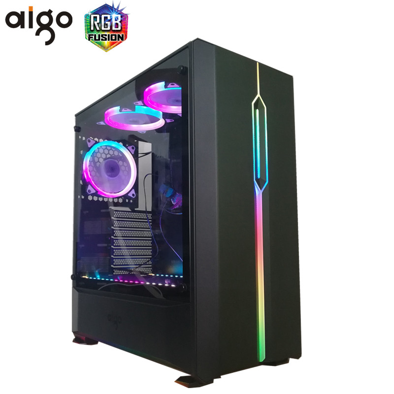 Aigo T20 Desktop PC Case ATX/Micro ATX RGB light strip Transparent Side 1