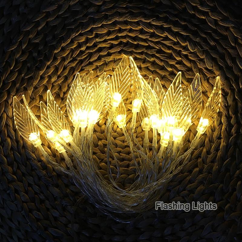 220V 5M 28 LED Lamp Tree Leaves String Lights for Outdoor Wedding Decoration Bedrroom Home Decor with EU plug decorative lights
