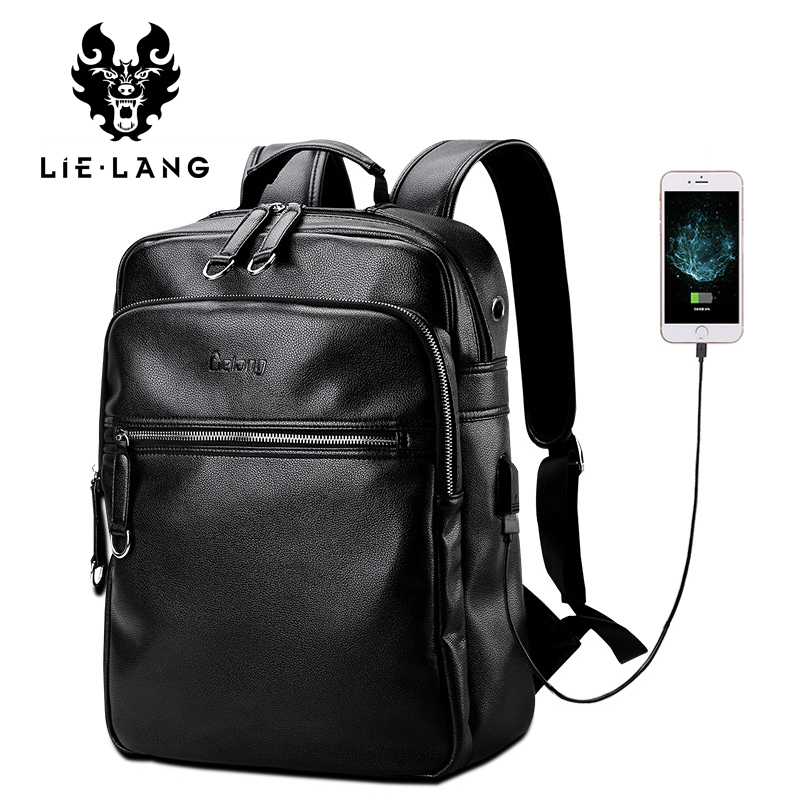 LIELANG Leather Backpack Men External USB Charge Laptop Backpacks Bag 14 Inch Waterproof New Designer Computer Bags College Pack lielang men pu leather backpack waterproof large capacity 14 inch laptop bag usb charge camouflage backpack bag mochila rucksack