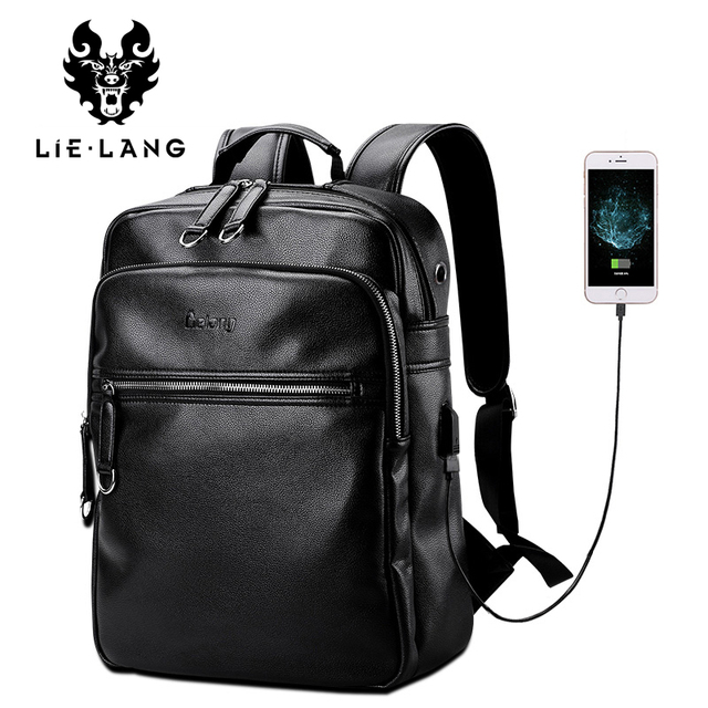 LIELANG Leather Backpack Men External USB Charge Laptop Backpacks ...