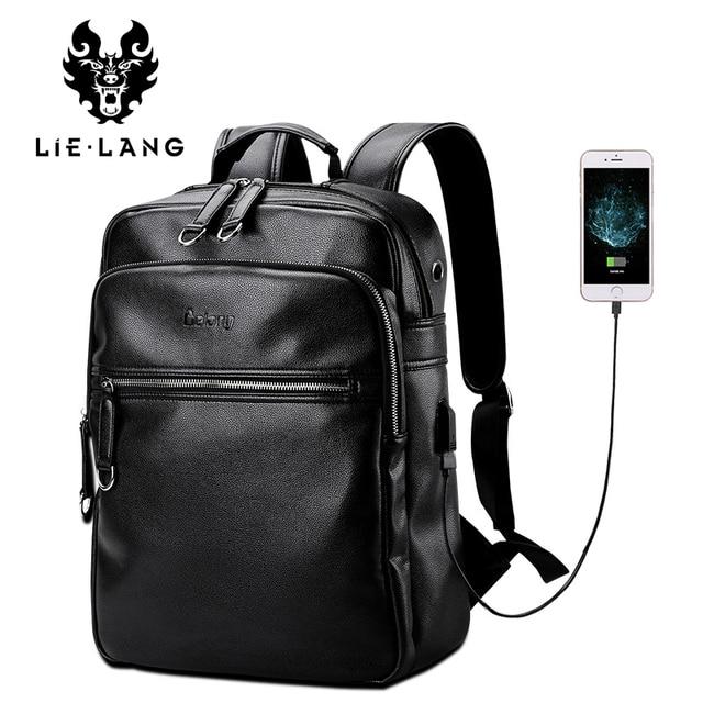 LIELANG Leather Backpack Men External USB Charge Laptop Backpacks Bag 15.6Inch Waterproof backpack Computer Bags College Pack