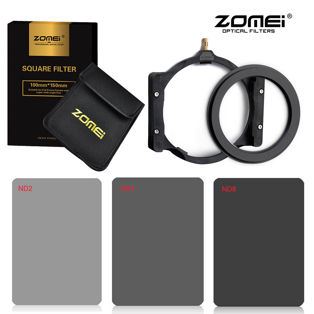 Zomei 150*100mm Square Filter Kit Full Neutral Density ND2+ND4+ND8+Multifunctional Filter Holder+Adapter Ring for Cokin Z Serie zomei 150 100mm nd gnd nd2 nd4 nd8 nd16 neutral density square filter holder 16 pieces case adapter ring 67mm 72mm 77mm 82mm