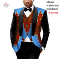 Mens African Clothes Mens Printed Blazer Men Jacket + Vest 2 Pieces Set African Men Traditional Clothes Plus Size 6XL BRW WYN176