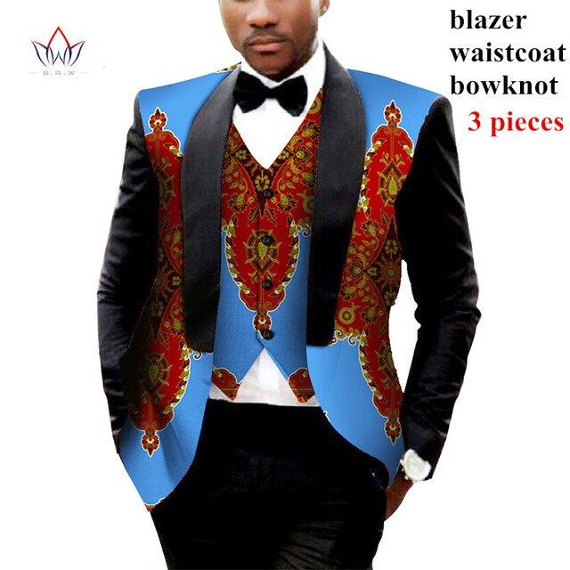 Mens African Clothes Mens Printed Blazer Men Jacket + Vest 2 Pieces Set African Men Traditional Clothes Plus Size 6XL BRW WYN176