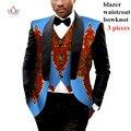 Mens Roupas Africano Mens Impresso Blazer Men Jacket + Vest 2 peças Set Homens Roupas Plus Size 6XL BRW WYN176 Tradicional Africano