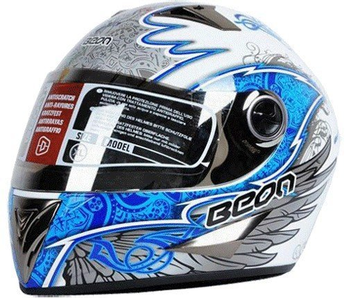 Full face helmet BEON white blue wings design motorcycle helmet flip up helmet