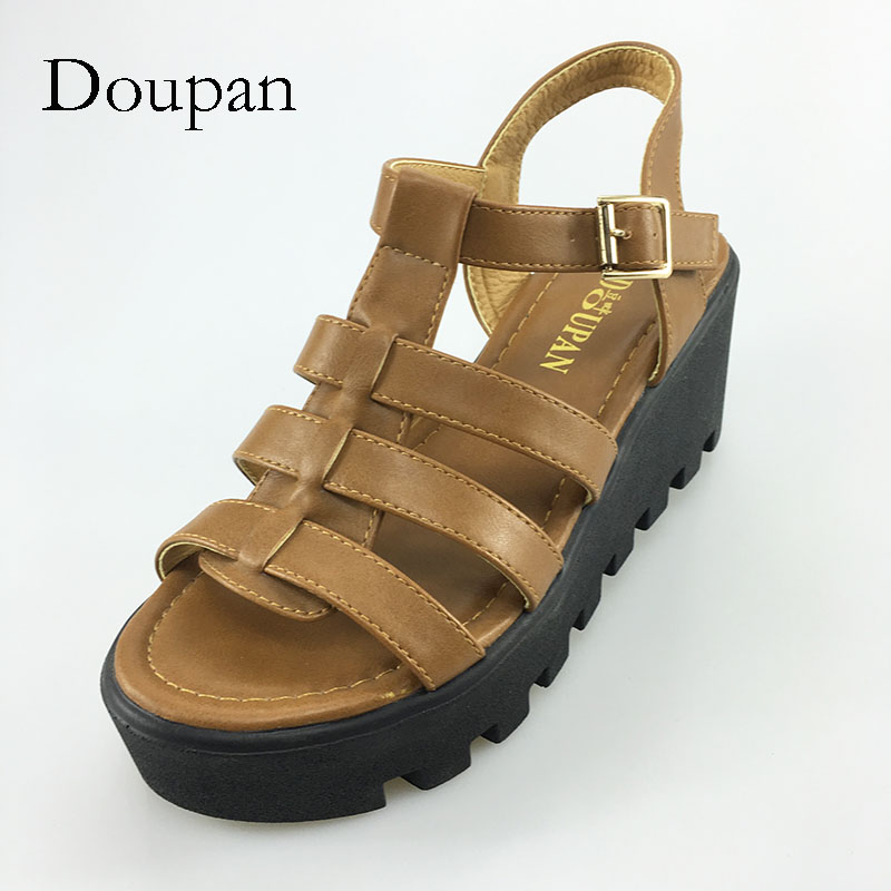 Doupan 2018 Women High Heel Shoes Strappy Platform Gladiator Woman Sandals Summer Hollow Out Weave Ladies Cognac Sandal