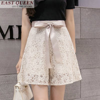 Bohemian summer shorts for women 2018 sexy lace flare mid waist belted hollow out lace loose drawstring solid shorts DD897 L