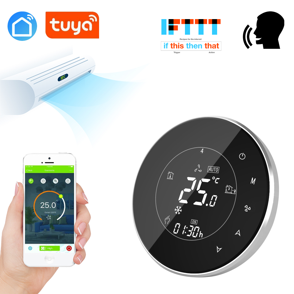 Tuya App 4 Pipe WiFi Smart Central Air Conditioner Thermostat Temperature Controller 3 Speed Fan Coil Unit