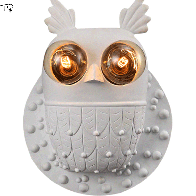 Nordic Resign Owl Wall Lamp Corridor Bedroom Bedside Kids Room Bathroom Stair Cartoon Creative Led Wall Sconce Light Fixtures|LED Indoor Wall Lamps| |  - title=