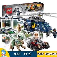433Pcs Jurassic World Blue's Helicopter Pursuit Bike Velociraptor Model Building Blocks Dinosaur Toy Bricks Compatible With Lego