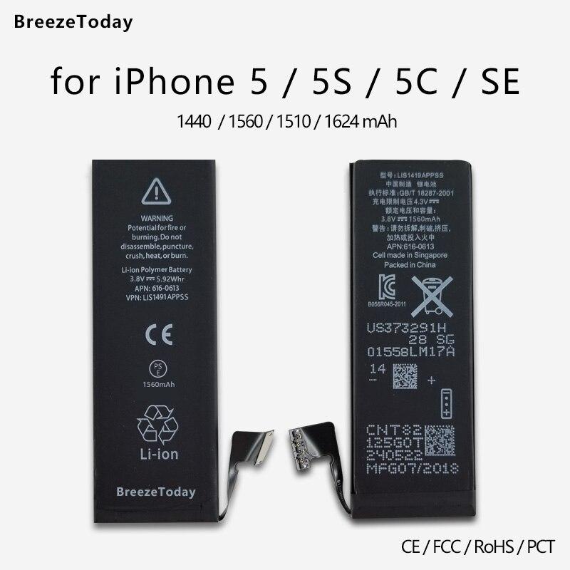 Bateria Do Telefone Móvel para o iphone 5 VVTVINC 5S 5c SI Mesma Capacidade de Substituição Da Bateria Interna Bateria De Lítio Da Bateria Original