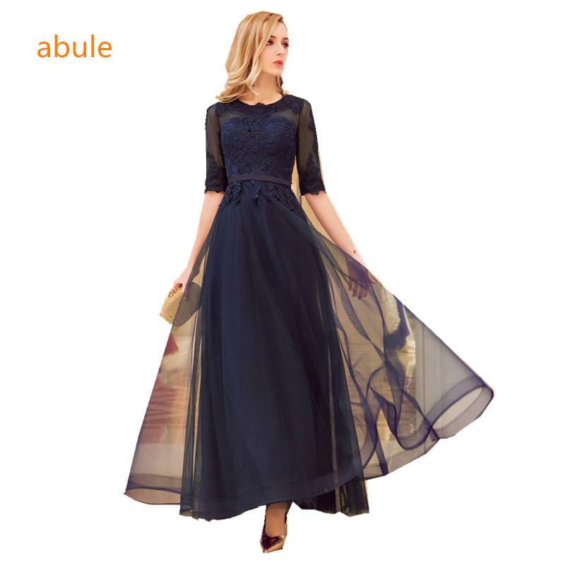 abule High quality bule long Evening Dresses lace up aline 2017 Prom Party Dress Elegant lace Robe De Soiree Longue