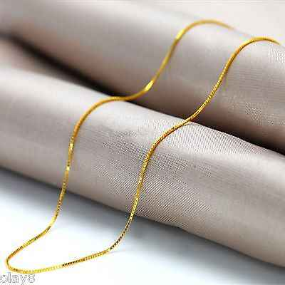 Hot New Arrival Solid Au750 18K Yellow Gold Women's Box Chain Necklace 18inch